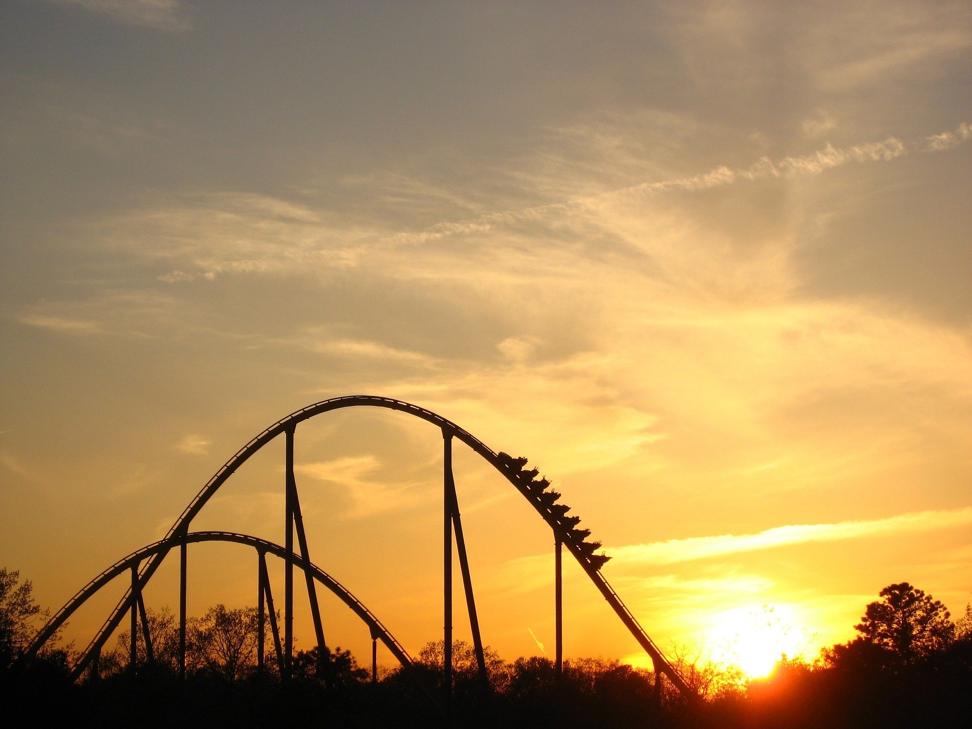 A rollercoaster against the sunset.