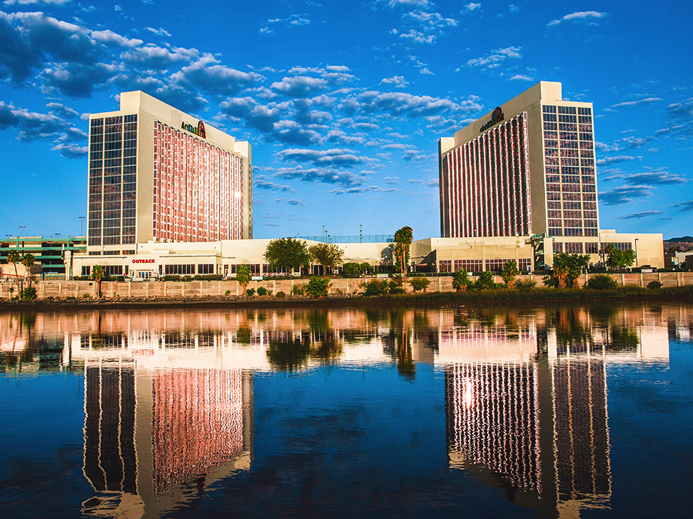 A pair of elegant hotels reflected on the River.