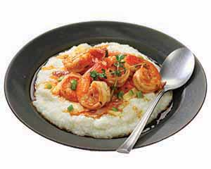A bowl of shrimp and grits.