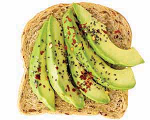 Avocado toast with pepper flakes.