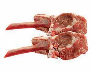 Beautiful lamb chop on the bone.