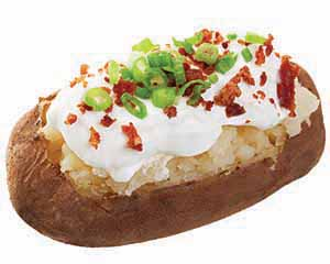 Potato topped with sour cream and chives.