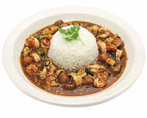 Gumbo with a pile of rice in the center.