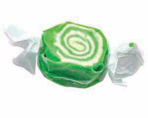 A wrapped piece of green taffy.