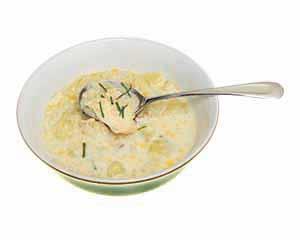 A bowl of chowder.