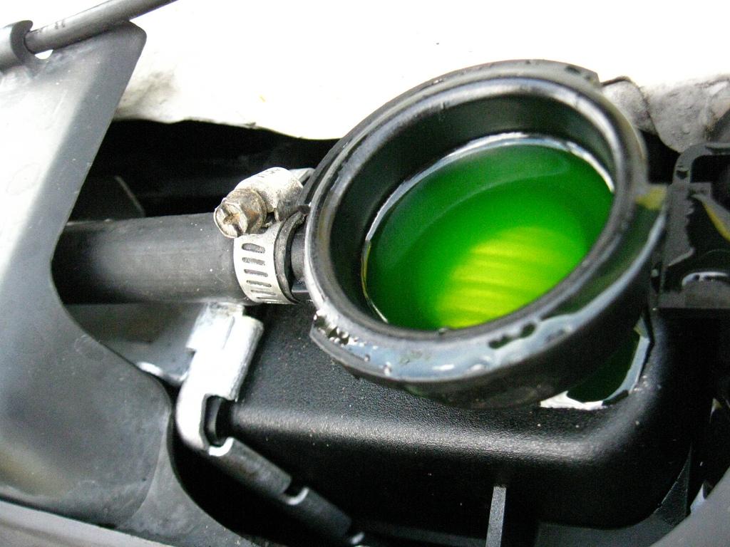 Green antifreeze in radiator.