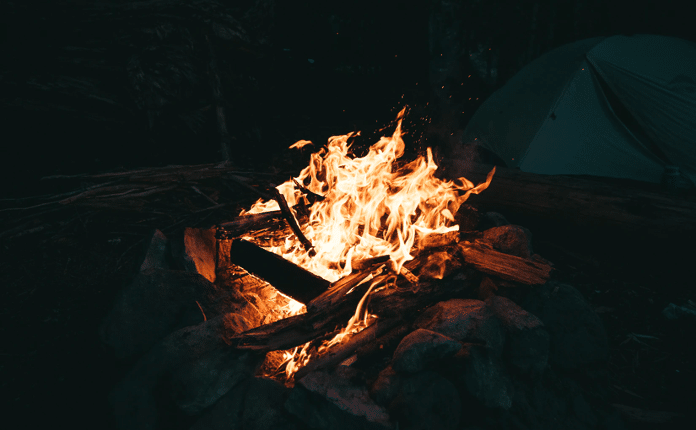 Roaring campfire at night
