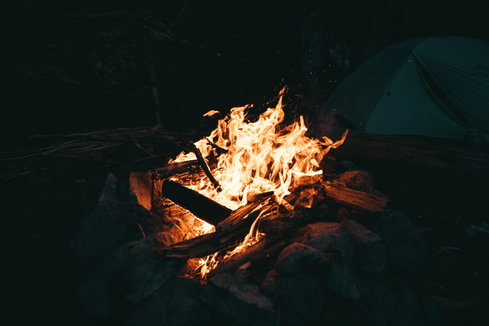 Roaring campfire at night