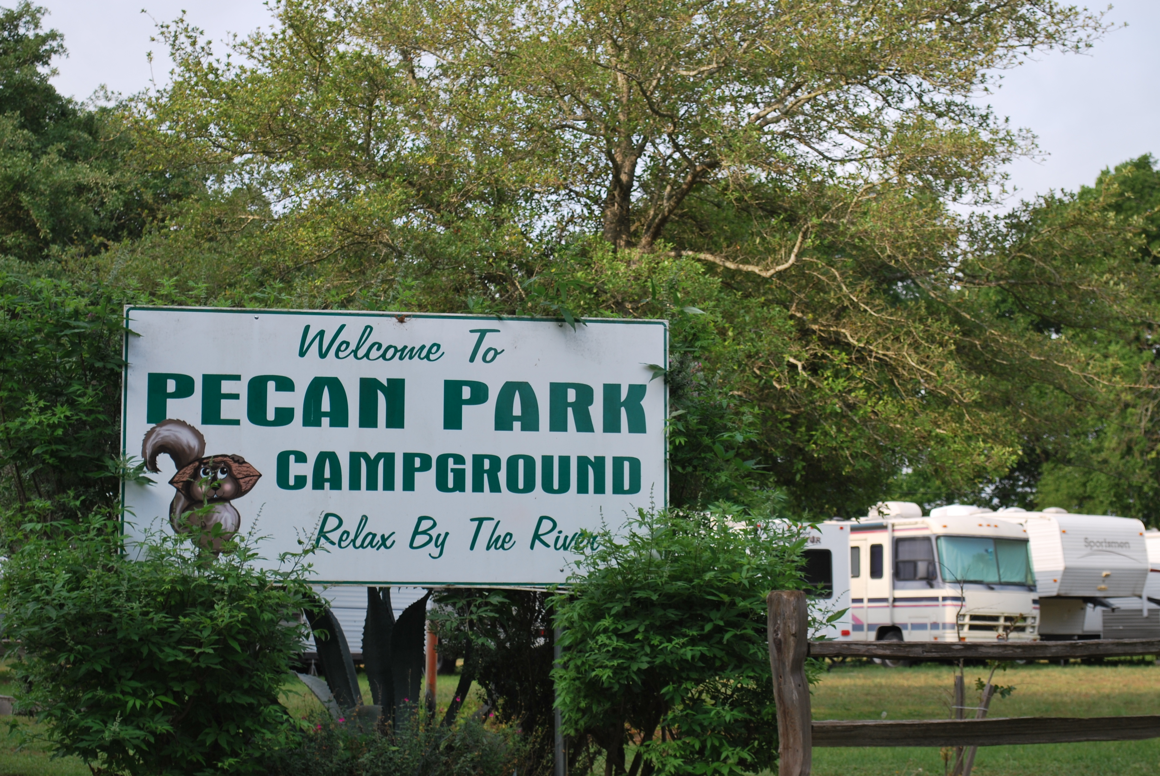 "Sign declaring, ""Welcome to Pecan Park Campground."""
