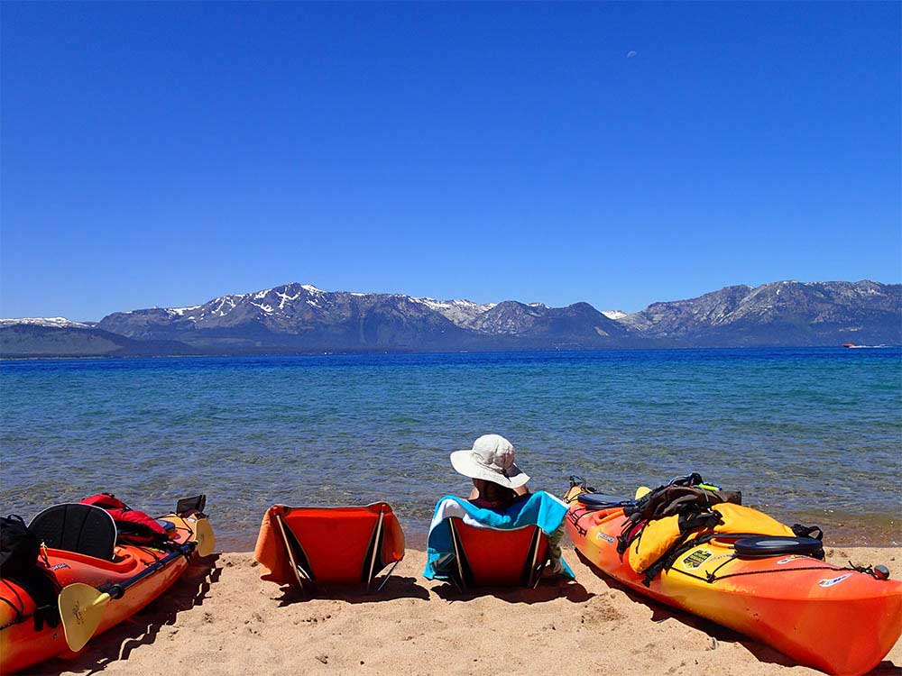 Lounging on the shore of Lake Tahoe