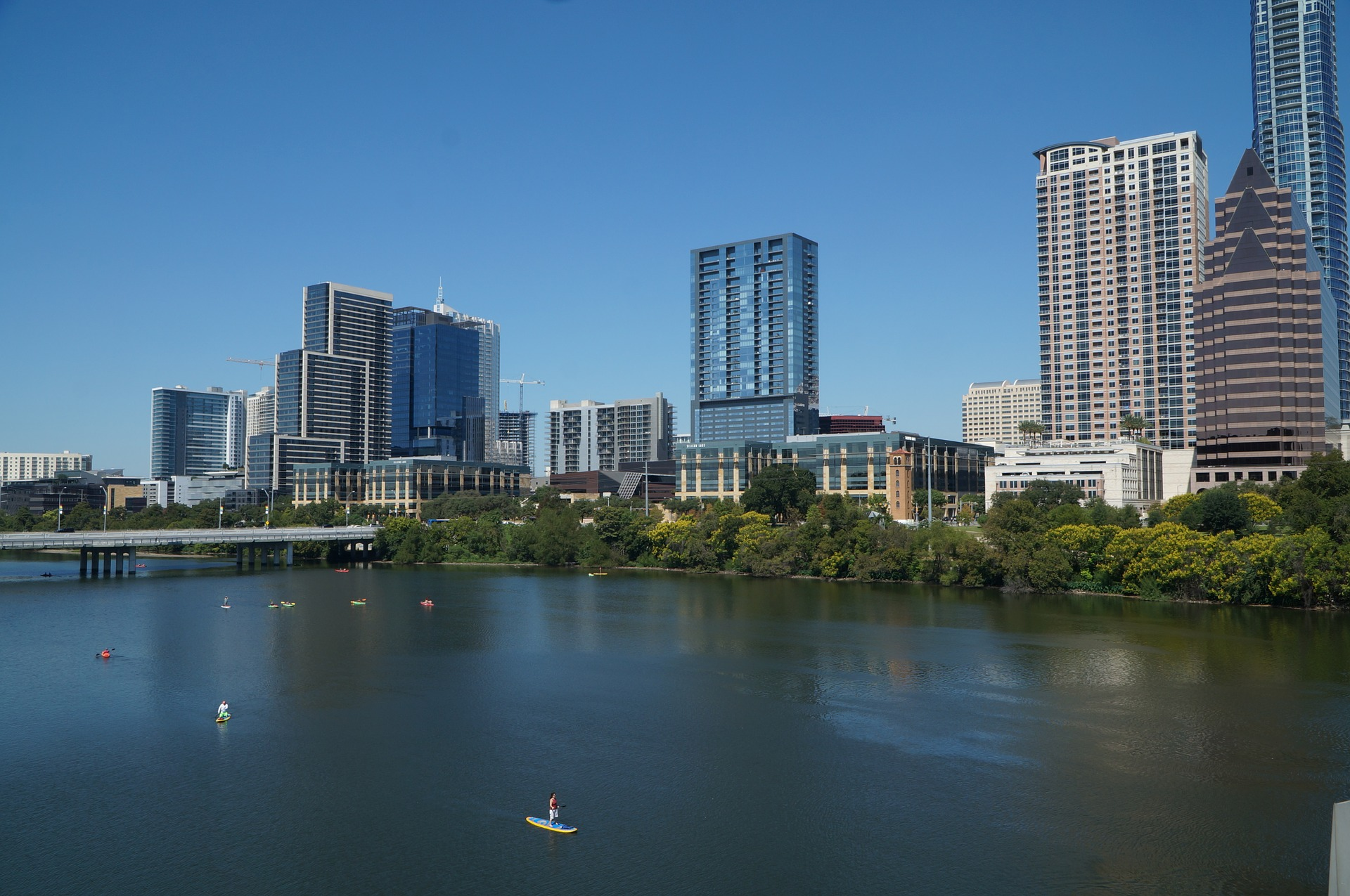 Paddleboarding on a broad river with skyline.