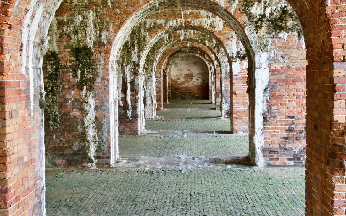 The arches of Fort Morgan in Alabama