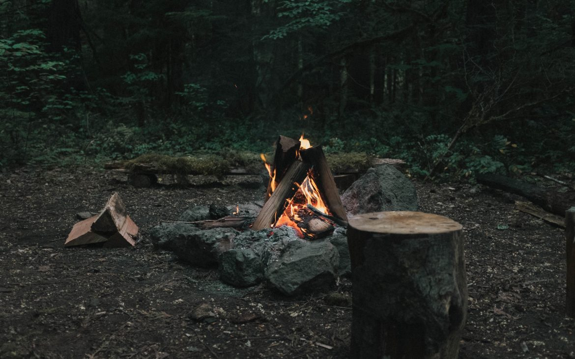 Campfire with rocks around it in the woods