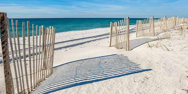 Empty white sandy beach
