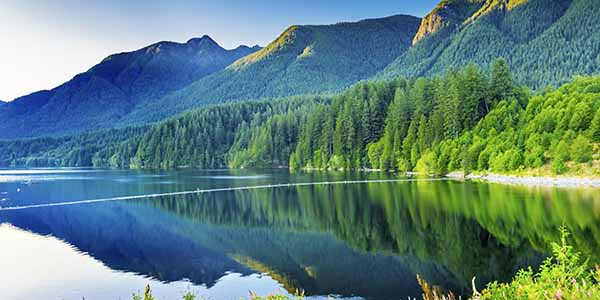 Capilano Reservoir Lake Green Mountains Vancouver British Columbia