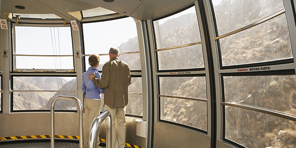 Couple on tram in Palm Springs
