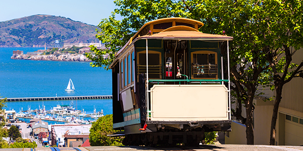 Cable car tram in San Francisco