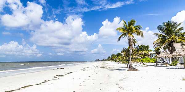 A view of the sandy beach in Fort Myers