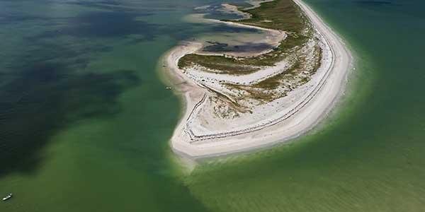 An aerial view of Honeymoon Island