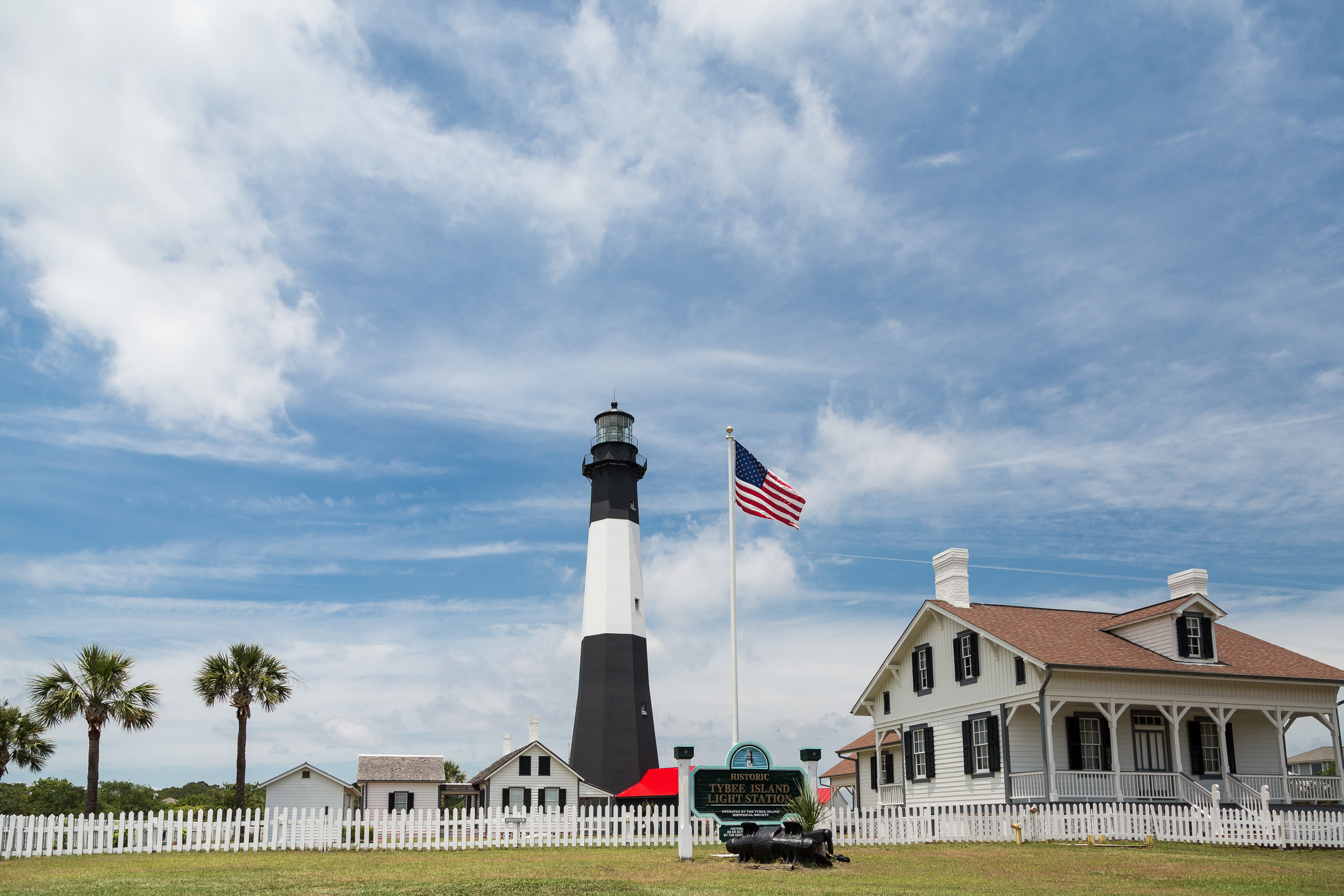A black and white lighthouse on Tybee Island