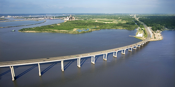 Bridge over the water in Lake Charles