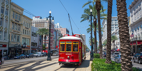 Red streetcar in New Orleans