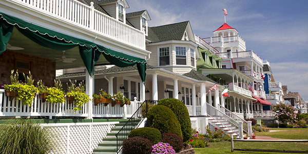 Colorful Victorian style houses in seaside town of Cape May, NJ