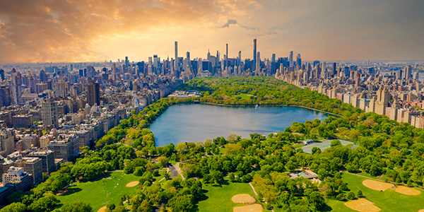 Aerial view of Manhattan New York looking south up Central Park