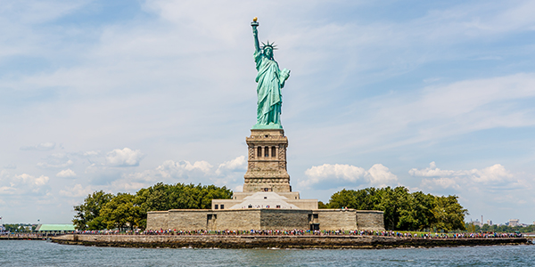 A view of the Statue of Liberty from the harbor