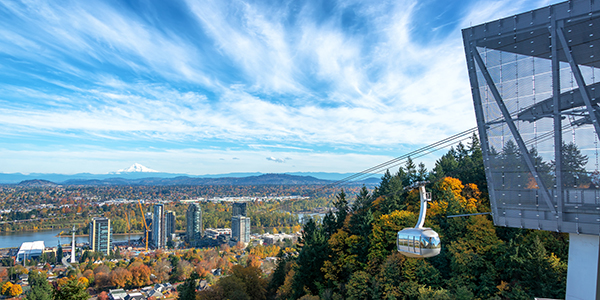 Portland Aerial Tram with a view of Portland