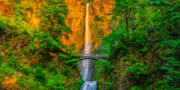 Colorful Sunset at Multnomah Falls on Columbia River Gorge in Portland, Oregon