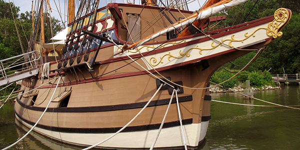 A replica of the Susan Constant sailing vessel in Jamestown.