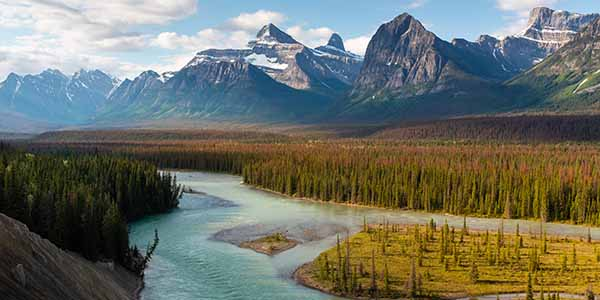 Sunrise picture of Athabasca river in Canada