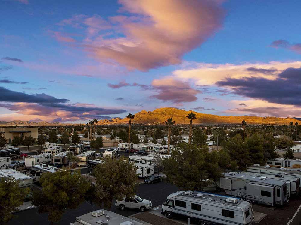 Scenic aerial shot of desert rv park.