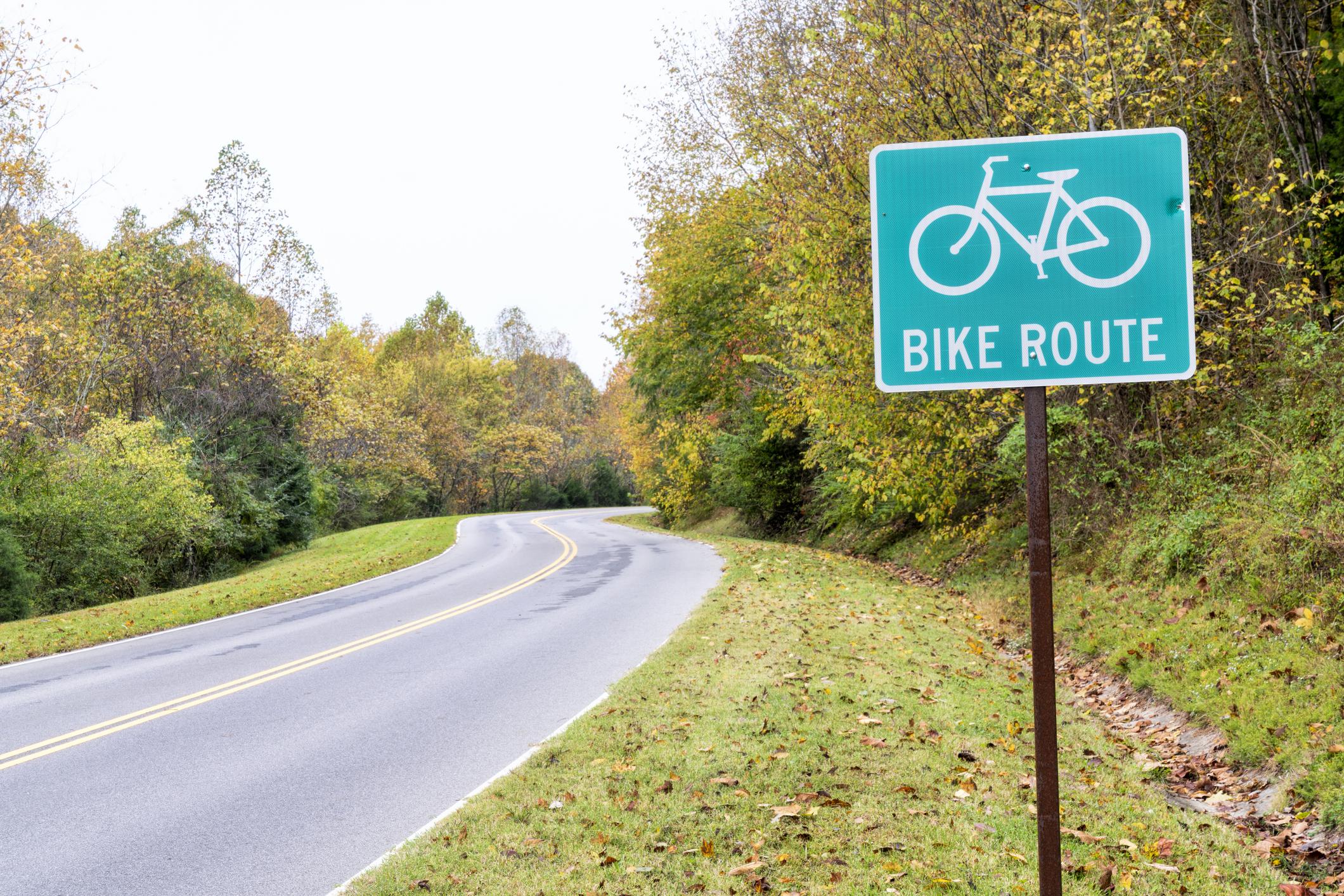 Bike Route along a blacktop highway.