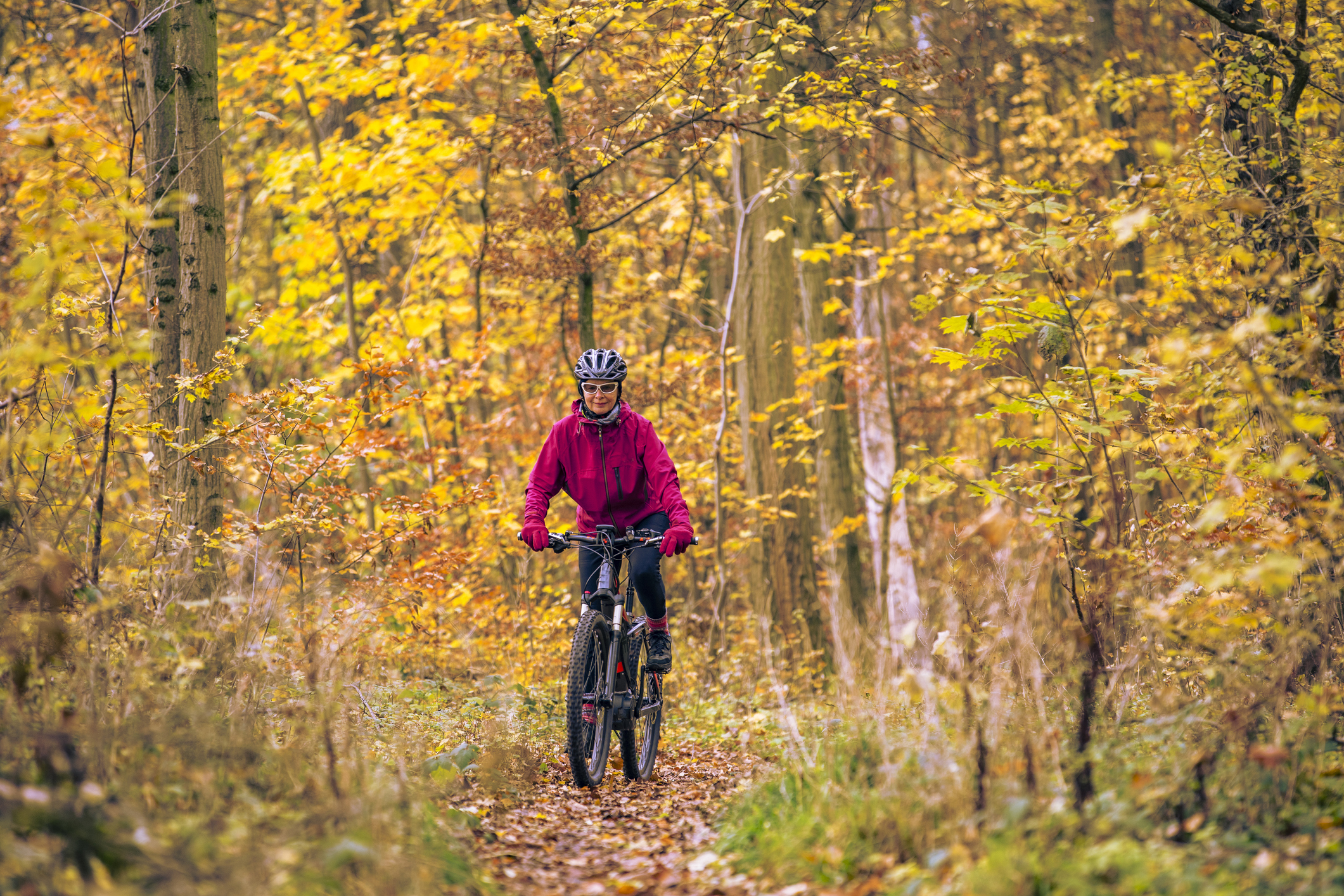 Woman rides through a trail flanked by fall colors.