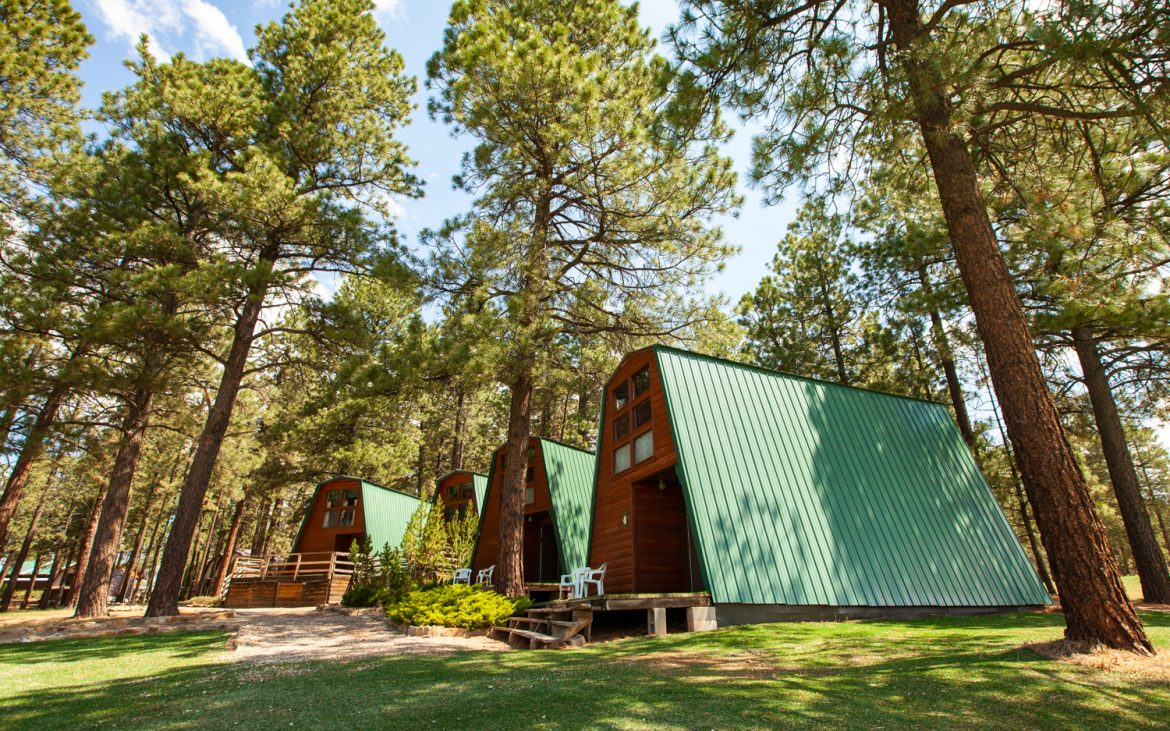 A frame cabins with green roofs in Colorado