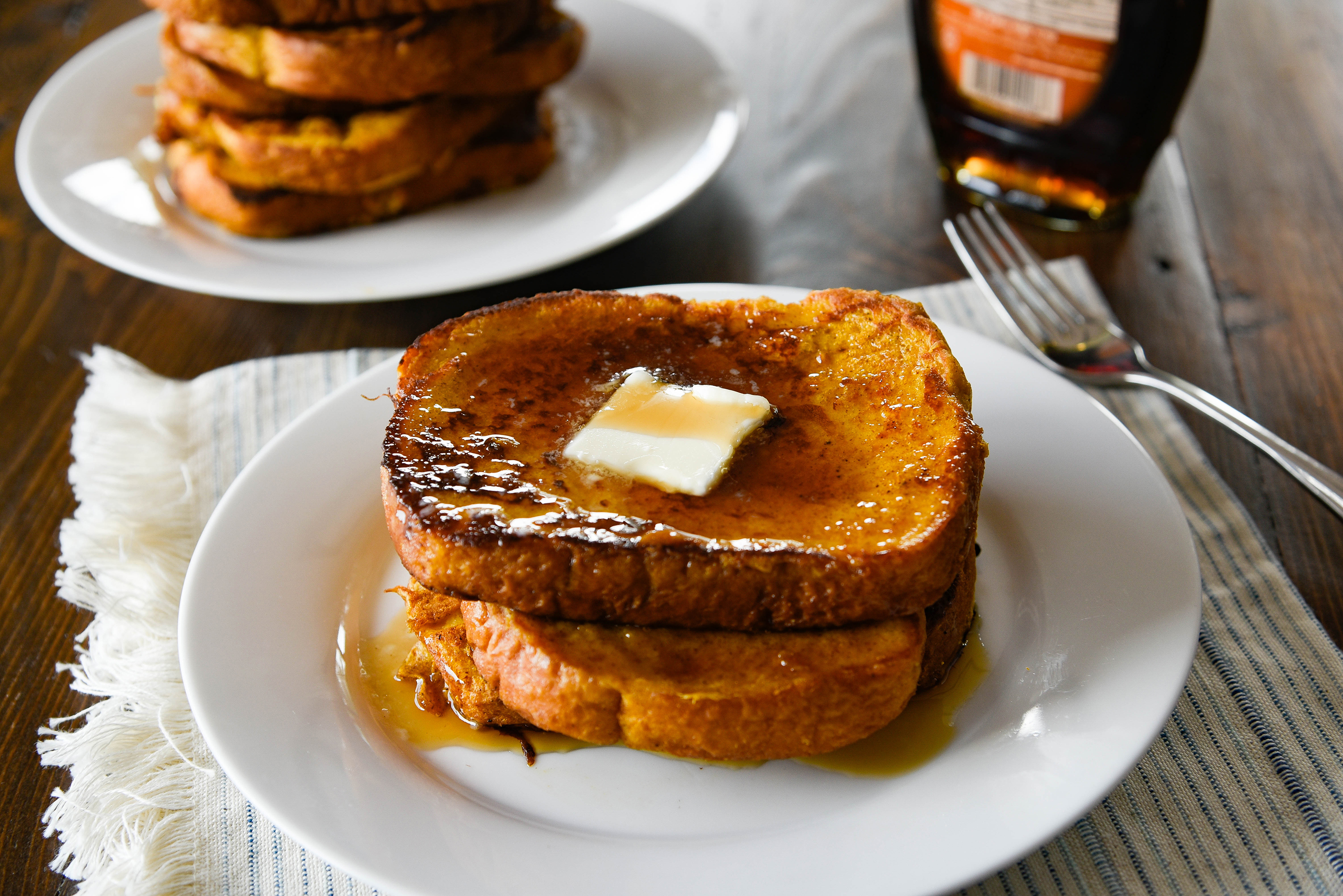 Stack of French Toast pieces w/ syrup.