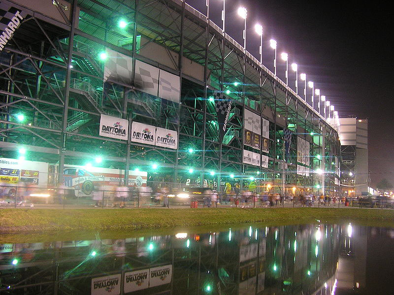 Well lit track in evening