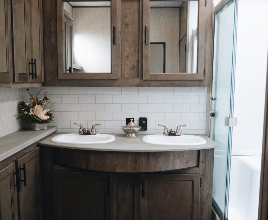 RV double sink with wood accents