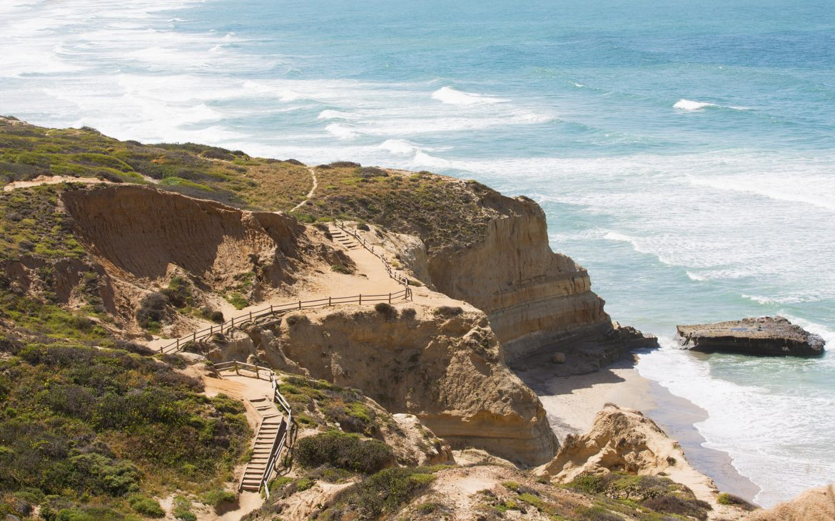 Ariel view of Southern California coastline at Torrey Pines