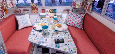 Colorful kitchen table in RV