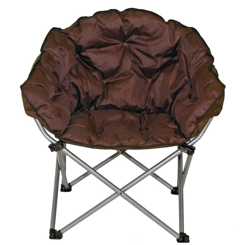 Brown chair on foldable metal legs.