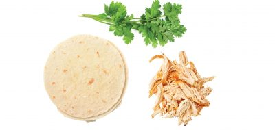 three ingredients--cilantro, tortilla and chicken
