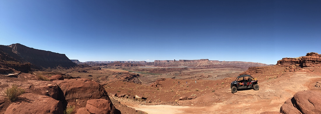 Panorama of offroading in rugged terrain
