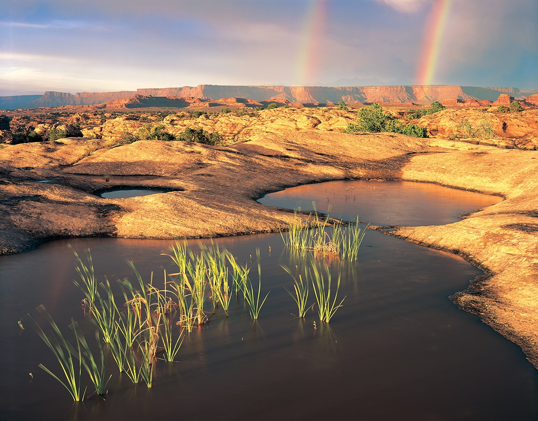 Rainbows arch over the horizon behind a tranquil pond on rock.