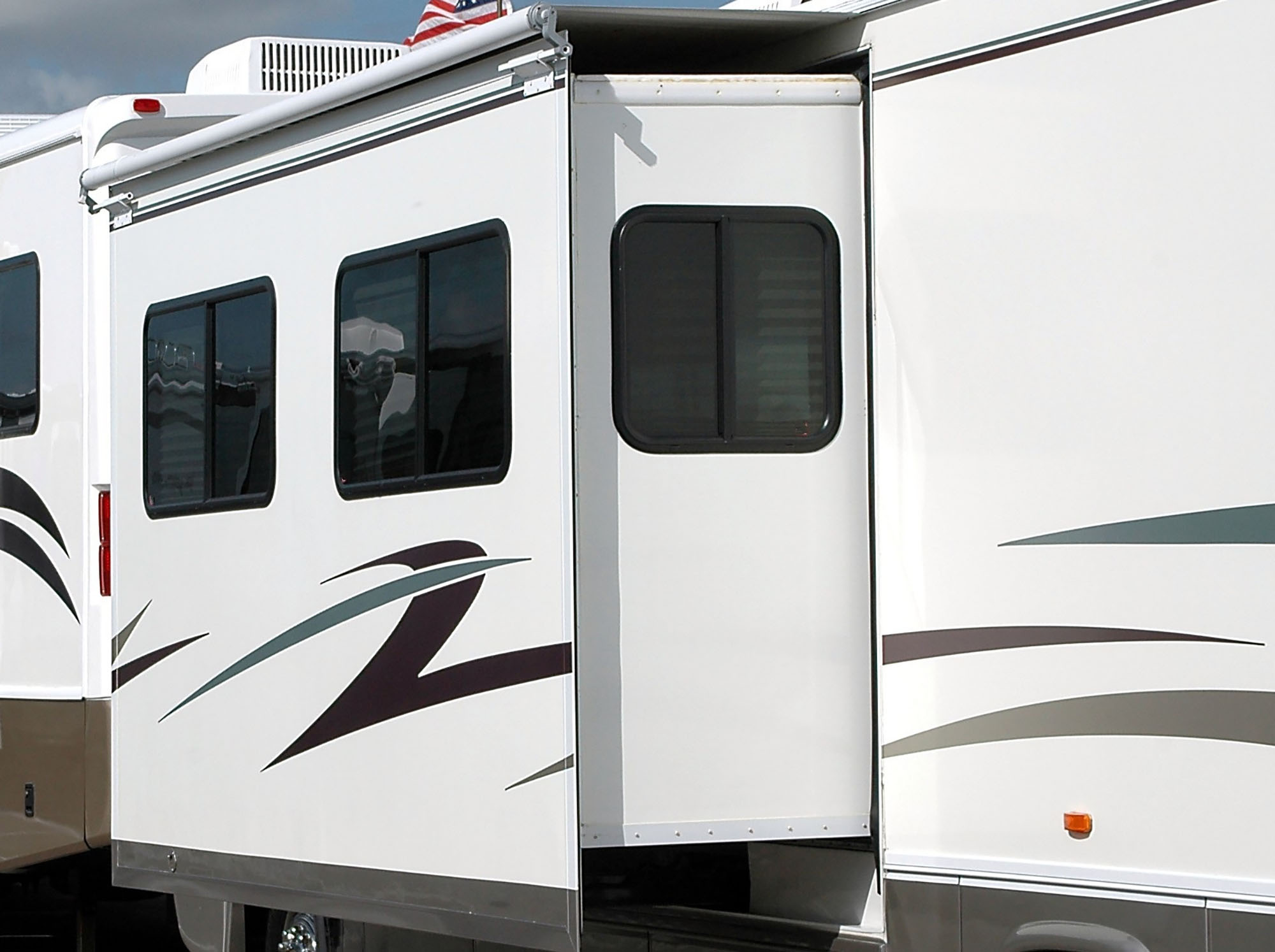 A motorhome slideout extended.