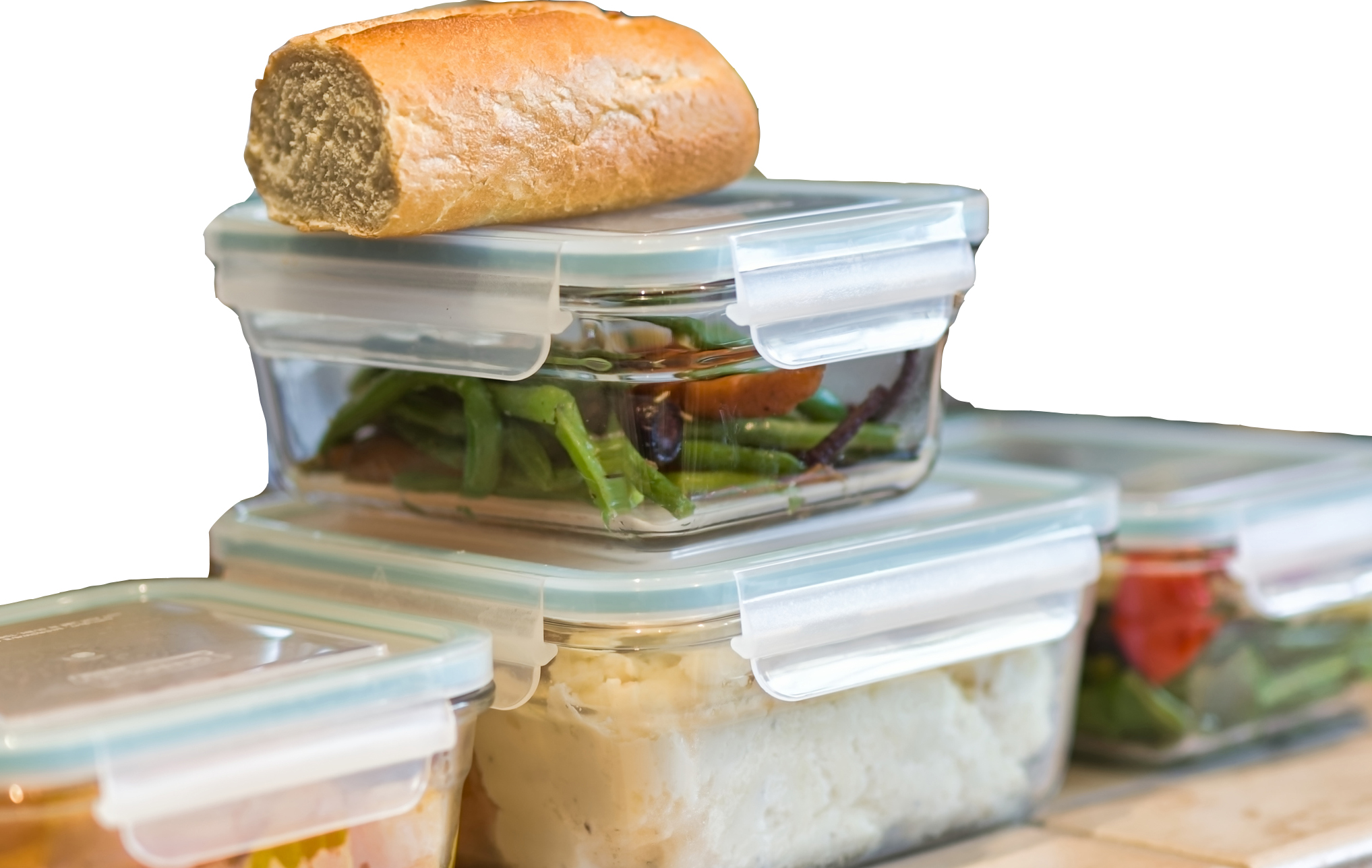 meals packed in sealed plastic boxes
