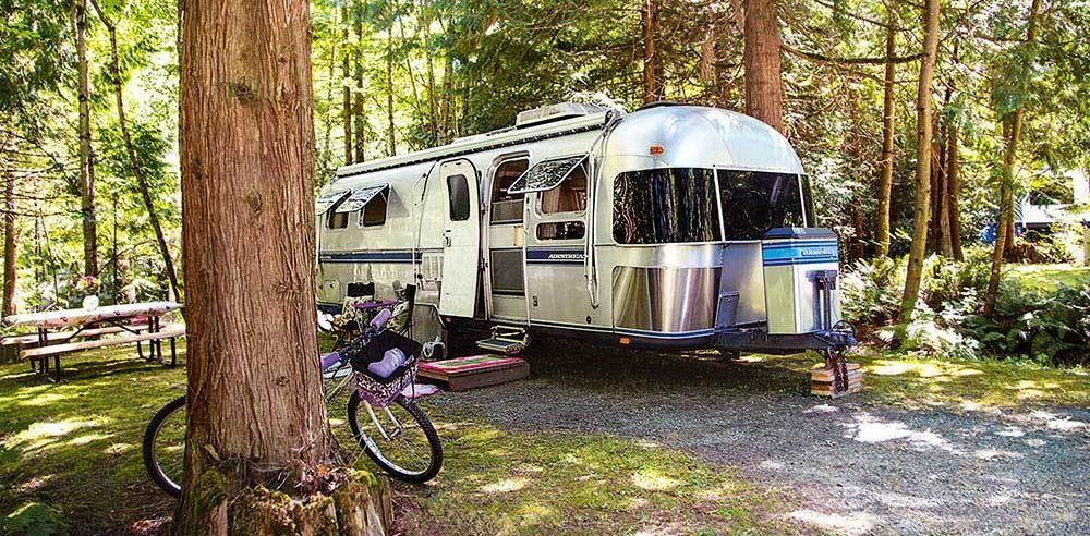 Airstream Parked in FOrest
