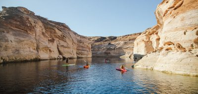 Lake Powell -- kayaking between sheer rock walls on a lake